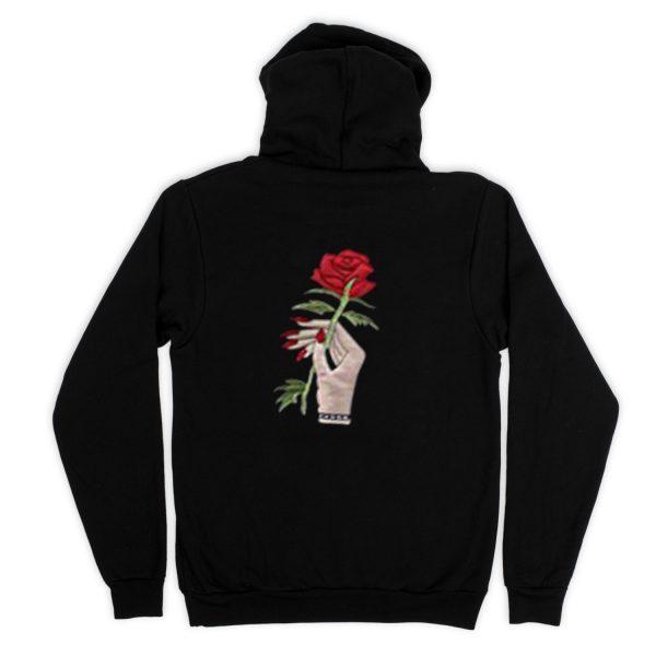Red Rose Black  Back Hoodies