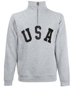 USA Half Zipper Grey Sweatshirts