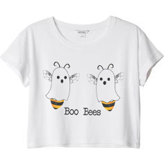Funny BOO BEES Helloween white crop top