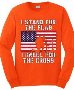 I Stand for the Flag I Kneel Patriotic Military Orange Sweatshirts