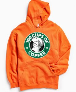 100 CUPS OF COFFEE Orange Hoodie