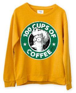 100 CUPS OF COFFEE Yellow Sweatshirts